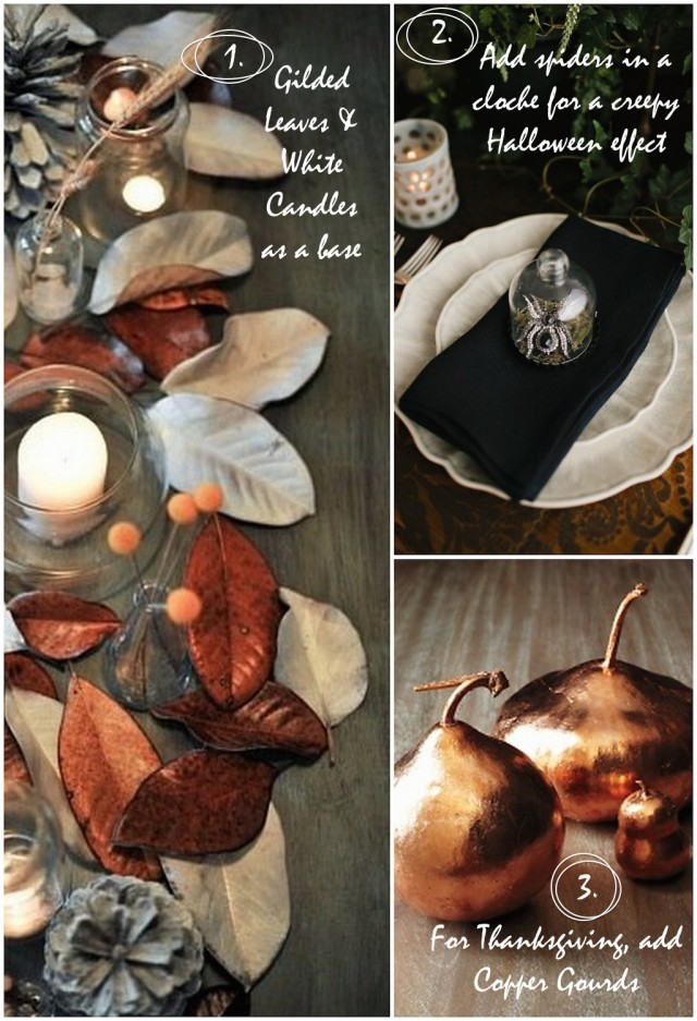 Gilded Leaves + Spiders + Gourds | Kitchen Pots & Tabletops